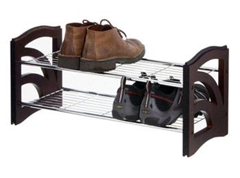2 Tier Wooden/Metal Shoe Organizer