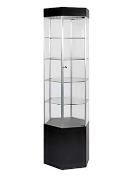 Lockable Hexagonal Glass Tower Display Case