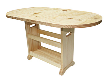 Pine Wood Folding Oval Table