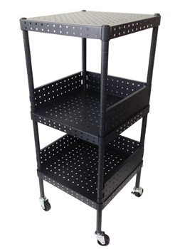 3 Tier Black Square Rolling Tower Cart