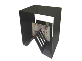 Metal Black End table with magazine holder