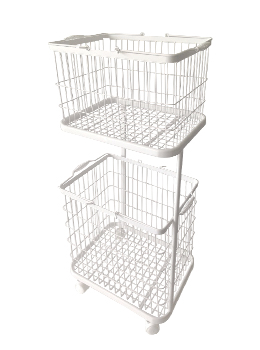 2-Tier Rolling Laundry Basket Cart