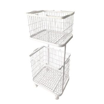 2-Tier Rolling Laundry Basket Cart