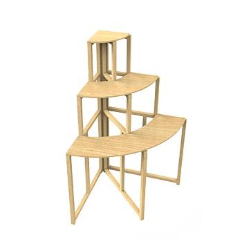 3 Tier Wood Corner Retail Display Shelf