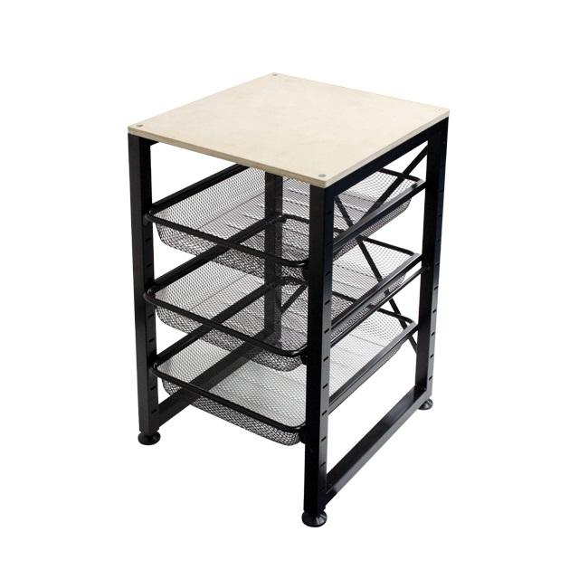 3 Mesh Basket Drawer w/ Wood Top