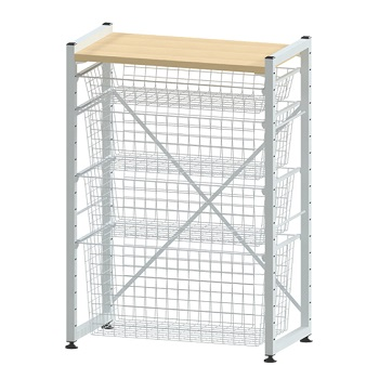 4-Drawer Basket Storage System w/ top shelf