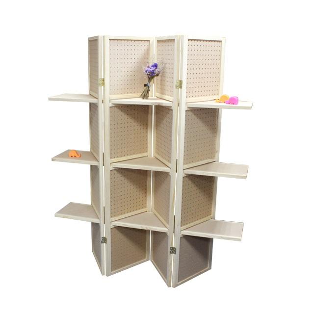 Pegboard Room Divider w/ 3 Display Shelves