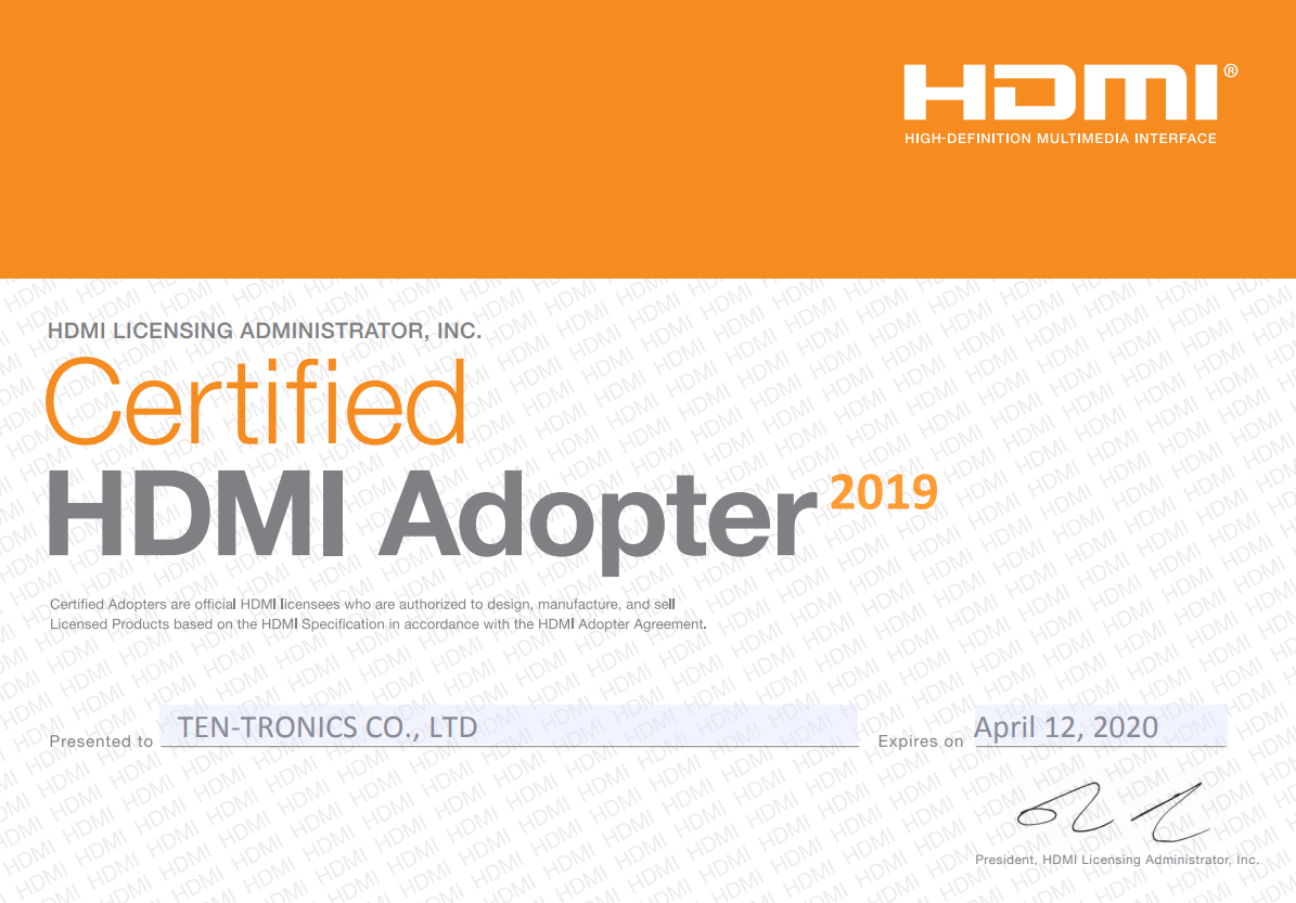 HDMI Adopter Certification