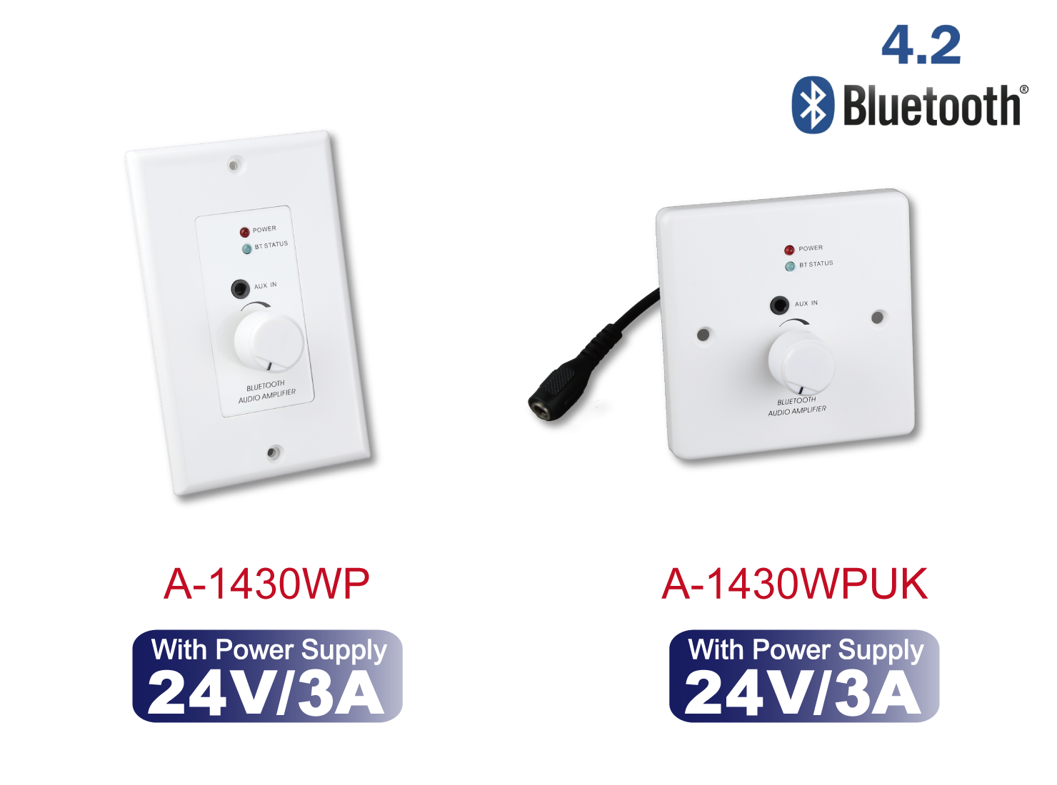 24W Wall Plate Audio Amplifier with CSR Bluetooth v4.2