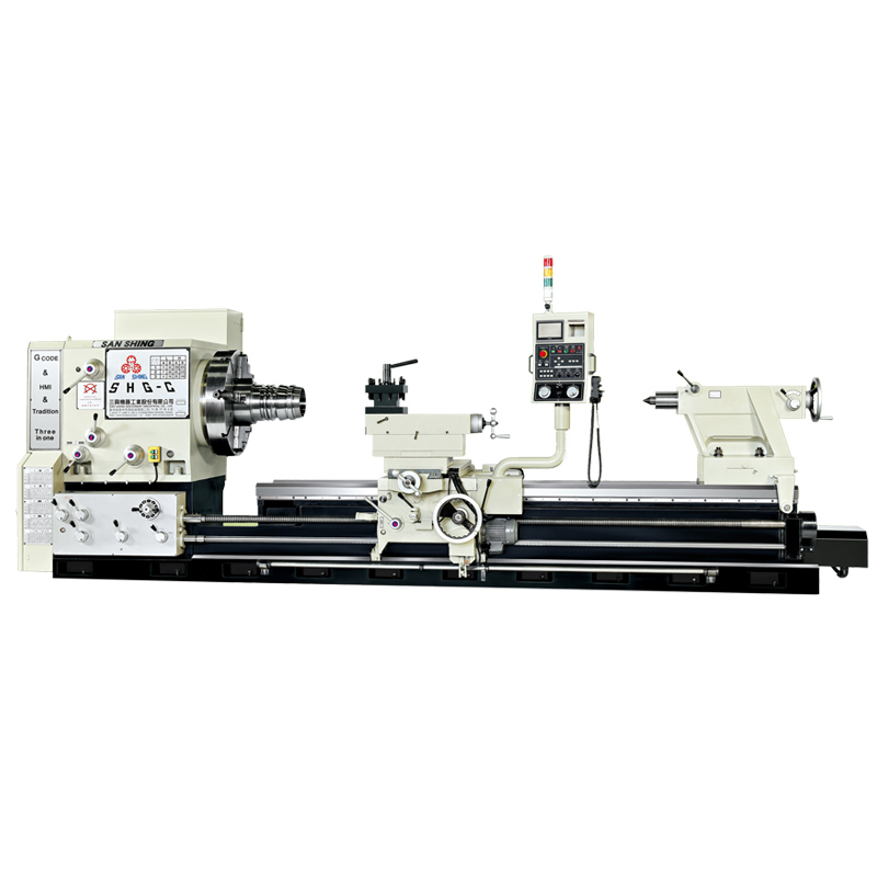 Graphic interactive control large bore heavy duty precision lathe