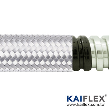 Waterproof Braided Flexible Metal Conduit, Square-lock SUS, PVC Jacket, Stainless Steel Braiding