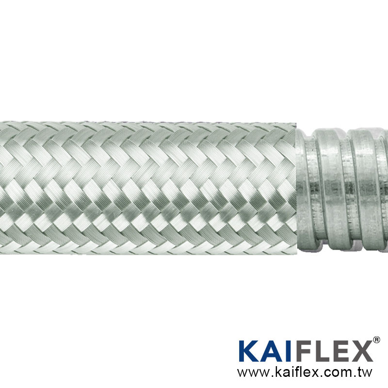 Braided Flexible Metal Conduit, Square-lock Gal, Galvanized Steel Braiding
