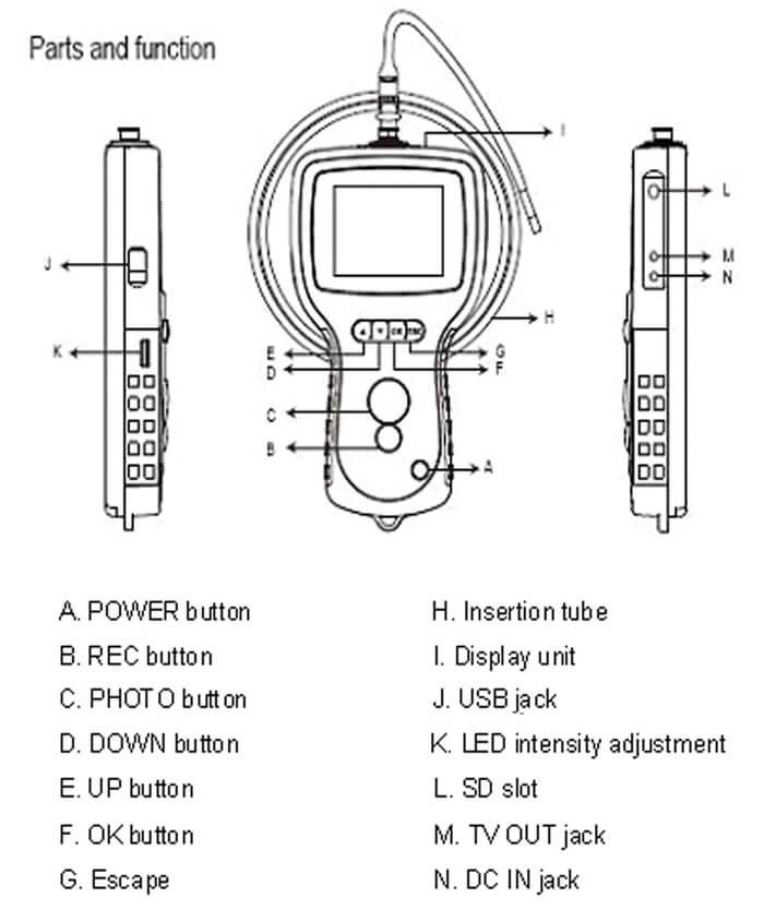 3 5 inches monitor borescope camera  f800-39