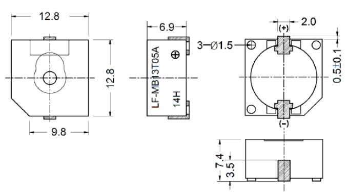 magnetic buzzer self-drive type   lf-mb13t05a
